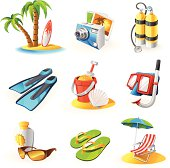 Vacations icon set with 9 colorful icons.
