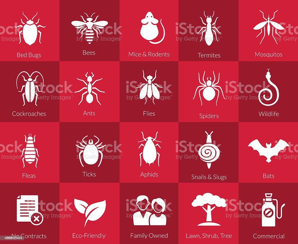 Icon set for pest control companies vector art illustration
