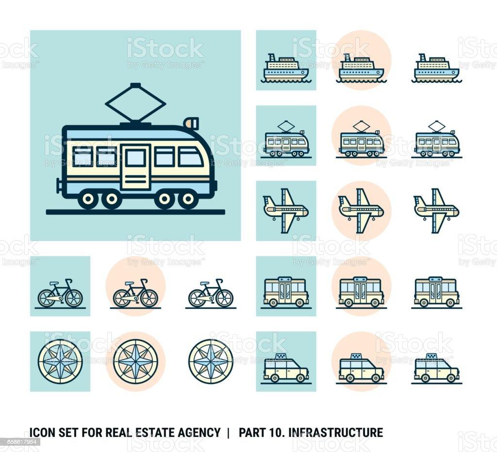 Jeu d'icônes pour Agence immobilière. Partie 10. Infrastructure - Illustration vectorielle