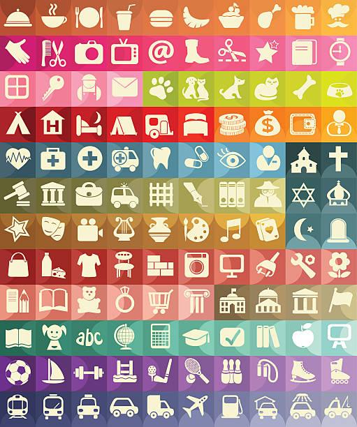 illustrazioni stock, clip art, cartoni animati e icone di tendenza di icona set per utile luoghi - banchi scuola