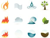 Vector icons set of the four elements. Fire, Air, Water and Earth.