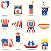 Icon Set, Fourth of July and american elements on white background, make in adobe Illustrator (vector)