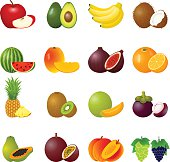 Vector illustration with ripe fruits and slices