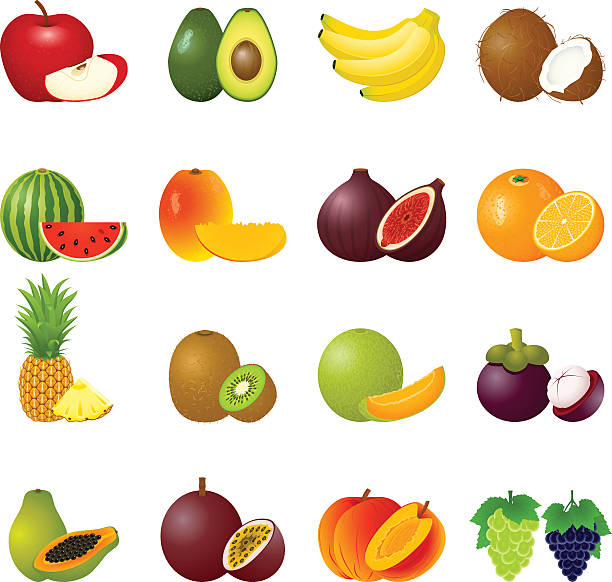 Icon Set Fruits Vector illustration with ripe fruits and slices avocado icons stock illustrations