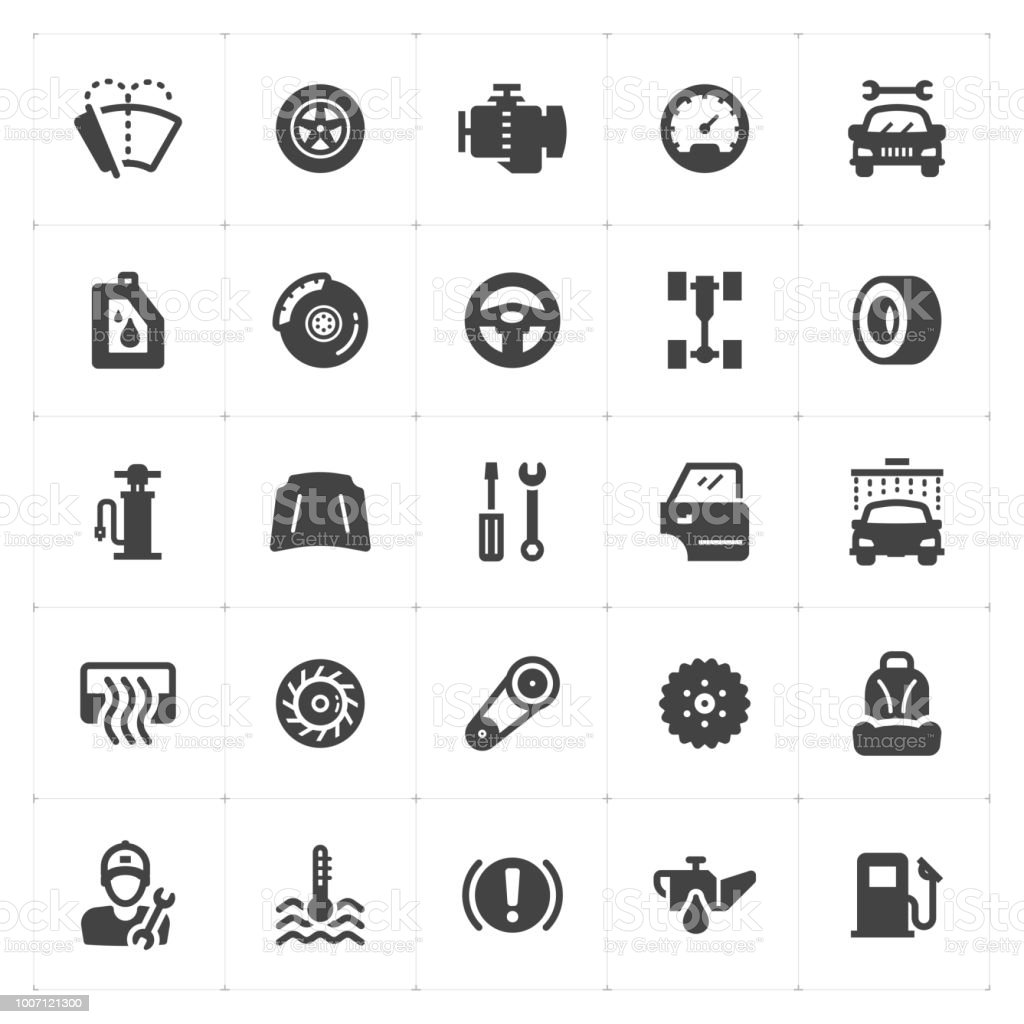 Icon set - garage and auto filled icon style vector illustration on white background vector art illustration