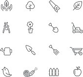 Icon Set, Gardening things on white background, made in adobe Illustrator (vector)