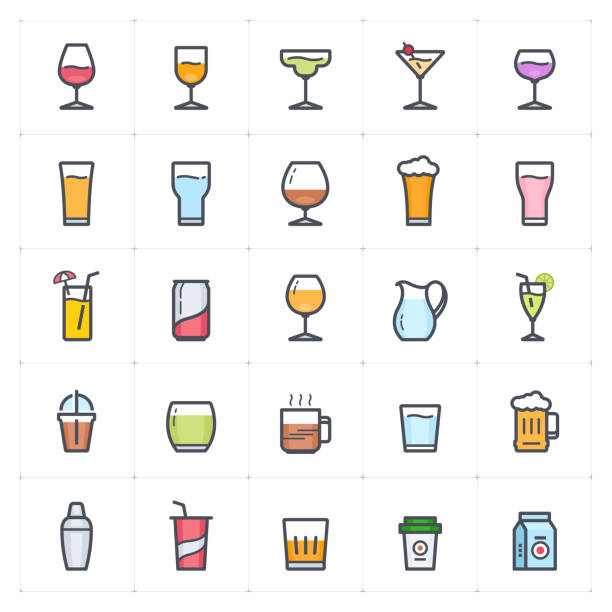 Icon set - glass and beverage outline stroke full color vector illustration on white background vector art illustration