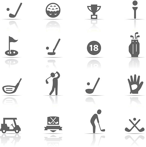 Icon Set, Golf Icon Set, a lot of golf things on white background, made in adobe Illustrator (vector) golf icon stock illustrations