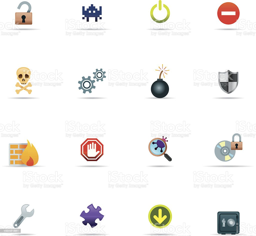 Icon Set, Hacking and Security Color royalty-free stock vector art