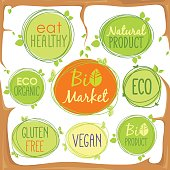 Vector bio icon set in tree branches of labels, stamps or stickers with signs - Bio market, gluten free, organic product, vegan, food healthy, eat healthy, organic, bio product, nature, Eco food