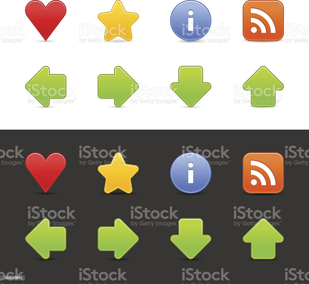 Icon set heart star information RSS arrow circle square button royalty-free stock vector art