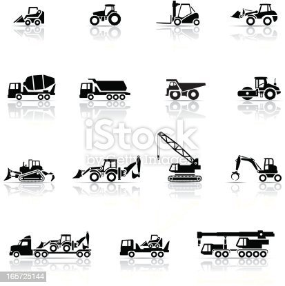 Icon Set, heavy machines things on white background, made in adobe Illustrator (vector)