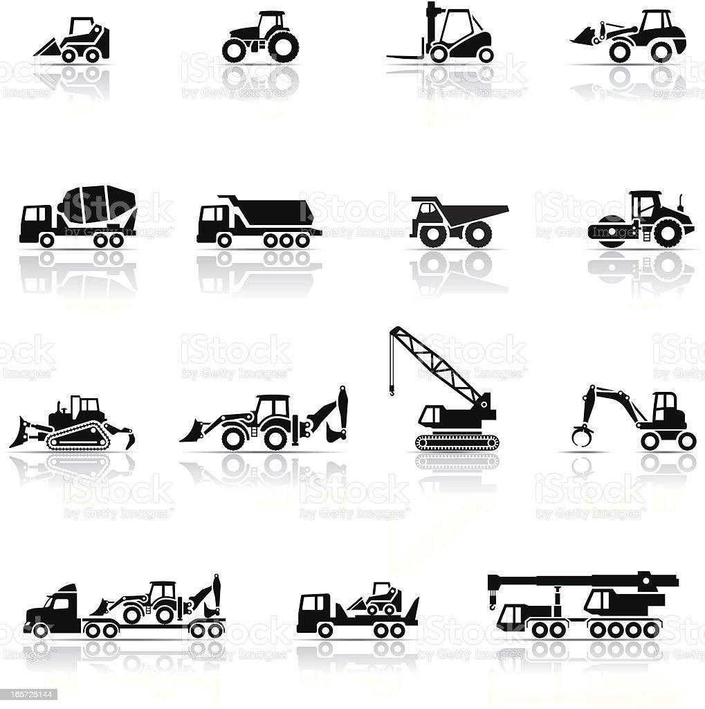 Icon Set, heavy machines vector art illustration