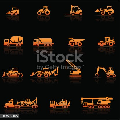 Icon Set, heavy machines things on black background, made in adobe Illustrator (vector)