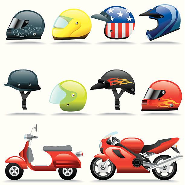 ilustrações de stock, clip art, desenhos animados e ícones de conjunto de ícones, capacetes e motociclos - helmet motorbike
