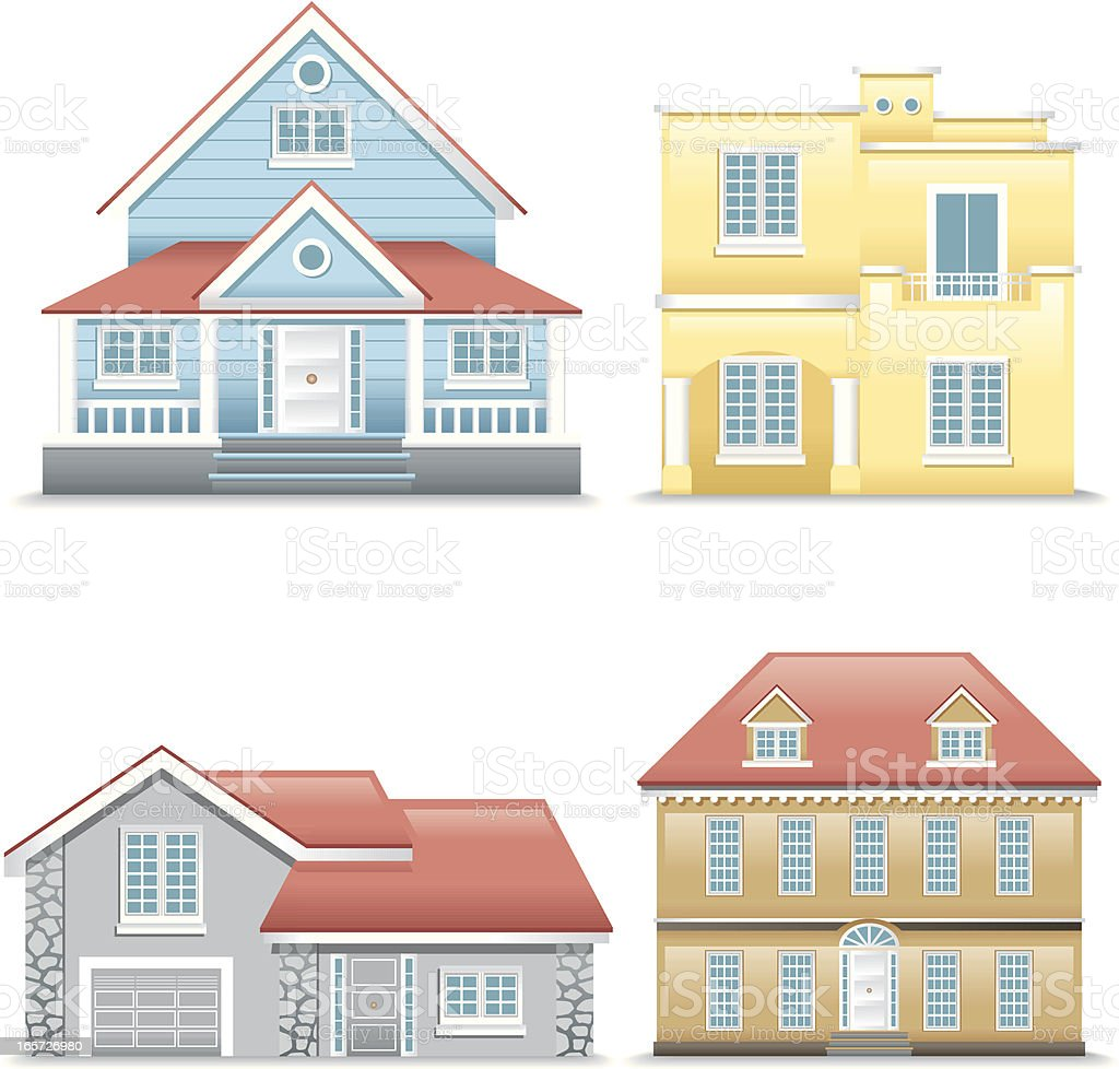 Icon Set, houses vector art illustration
