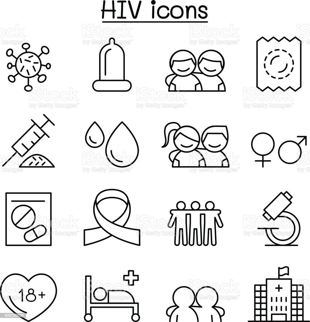 エイズ、HIV アイコン薄い線のスタイルの設定 ベクターアートイラスト