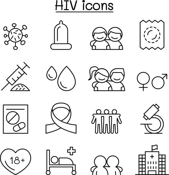 aids ,hiv icon set in thin line style - same sex couples stock illustrations