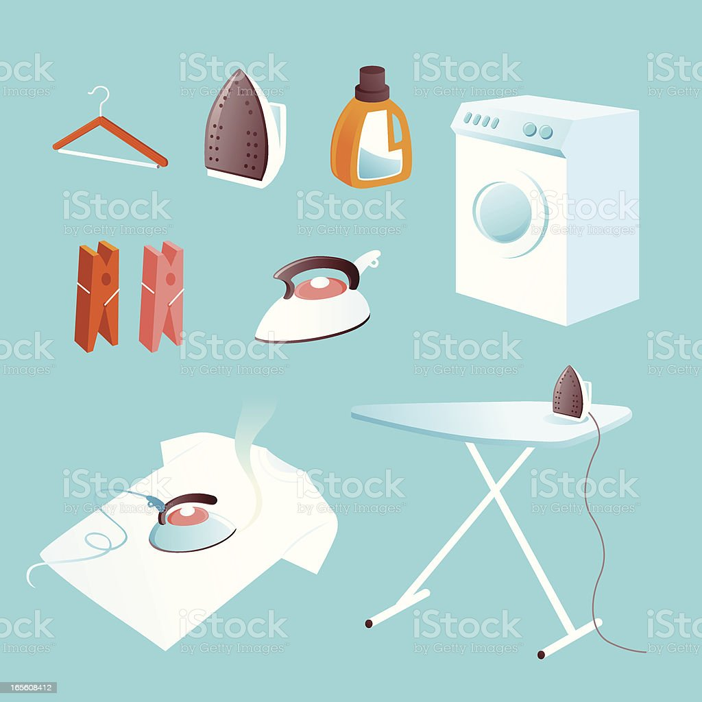 Icon set: ironing and laundry royalty-free stock vector art