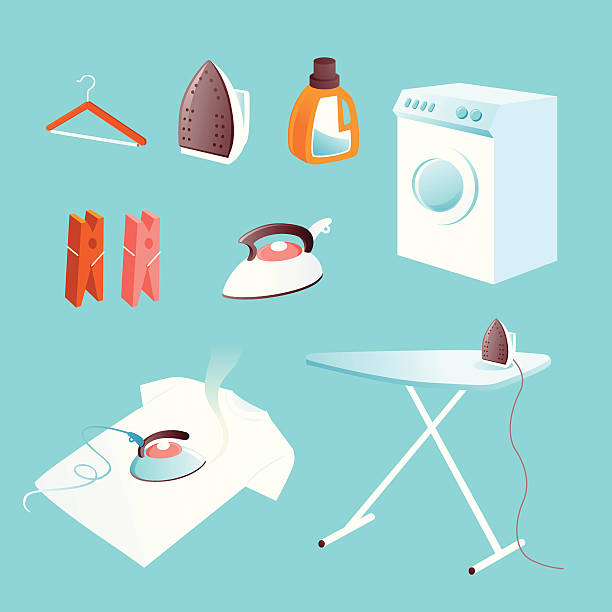 icon set: brett und wäscherei - hauswirtschaft stock-grafiken, -clipart, -cartoons und -symbole