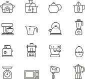 Icon Set, Kitchen items on white background, made in adobe Illustrator (vector)