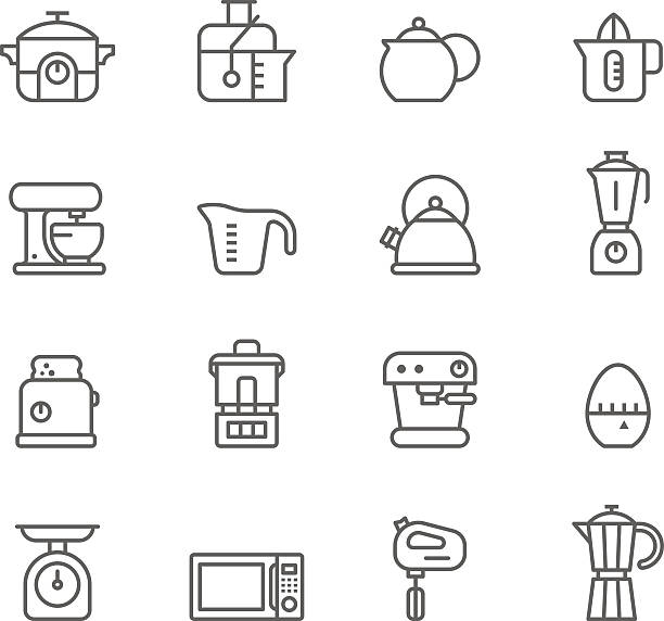 Icon Set, Kitchen Icon Set, Kitchen items on white background, made in adobe Illustrator (vector) measuring cup stock illustrations