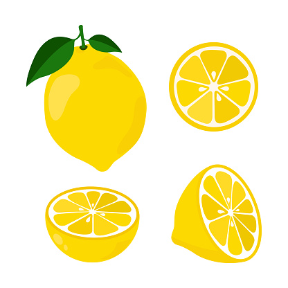 Icon set lemon, vector illustration on white background. the whole fruit and cut into pieces. citrus.