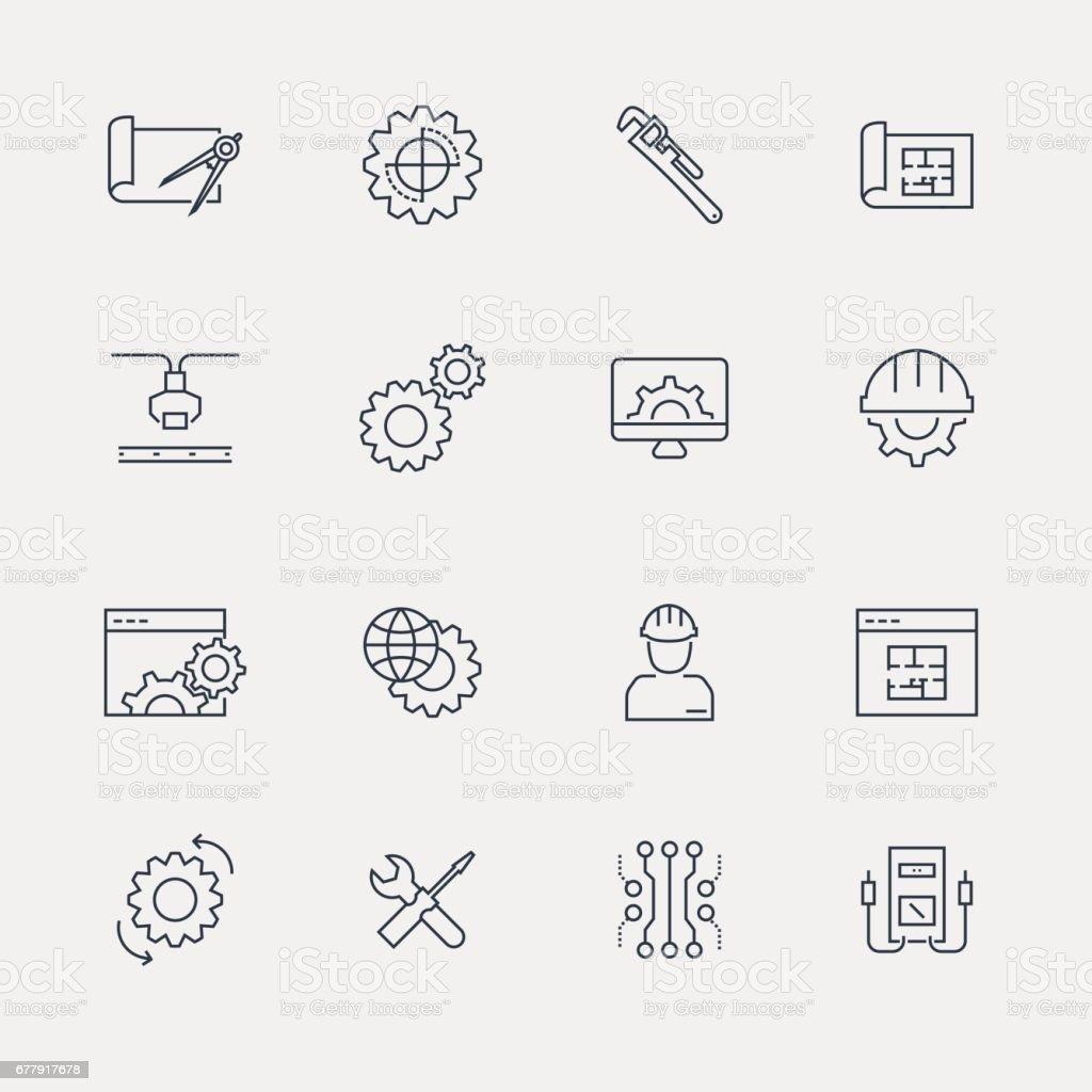 Icon Set - Line Series vector art illustration