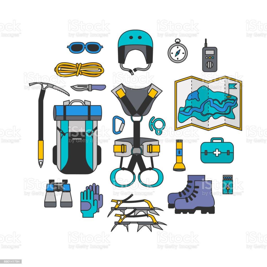 Icon set lineart design equipment for climbing vector art illustration