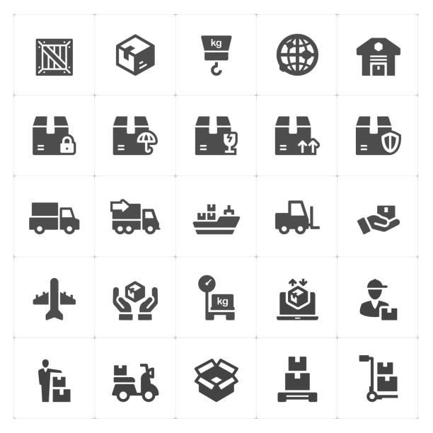 Jeu d'icônes - logistique et livraison rempli icône style vector illustration sur fond blanc - Illustration vectorielle