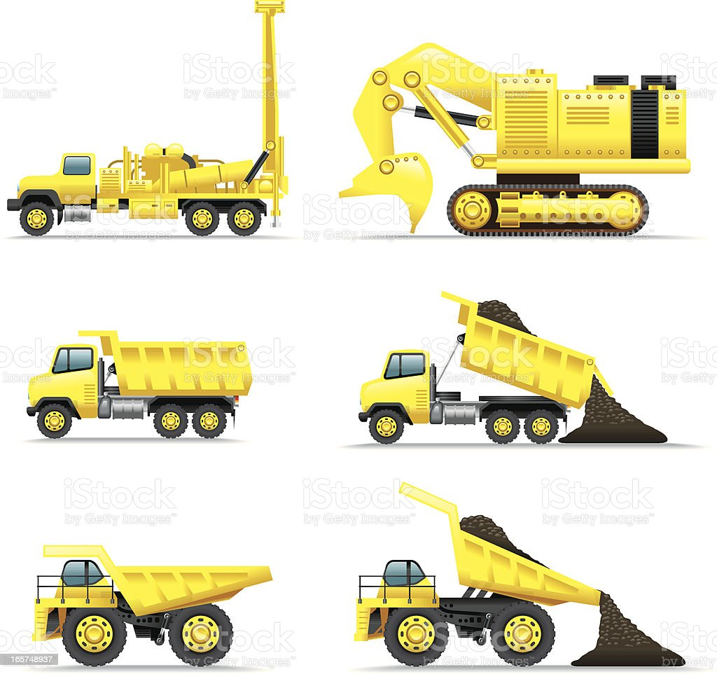 Icon Set, Minning trucks vector art illustration