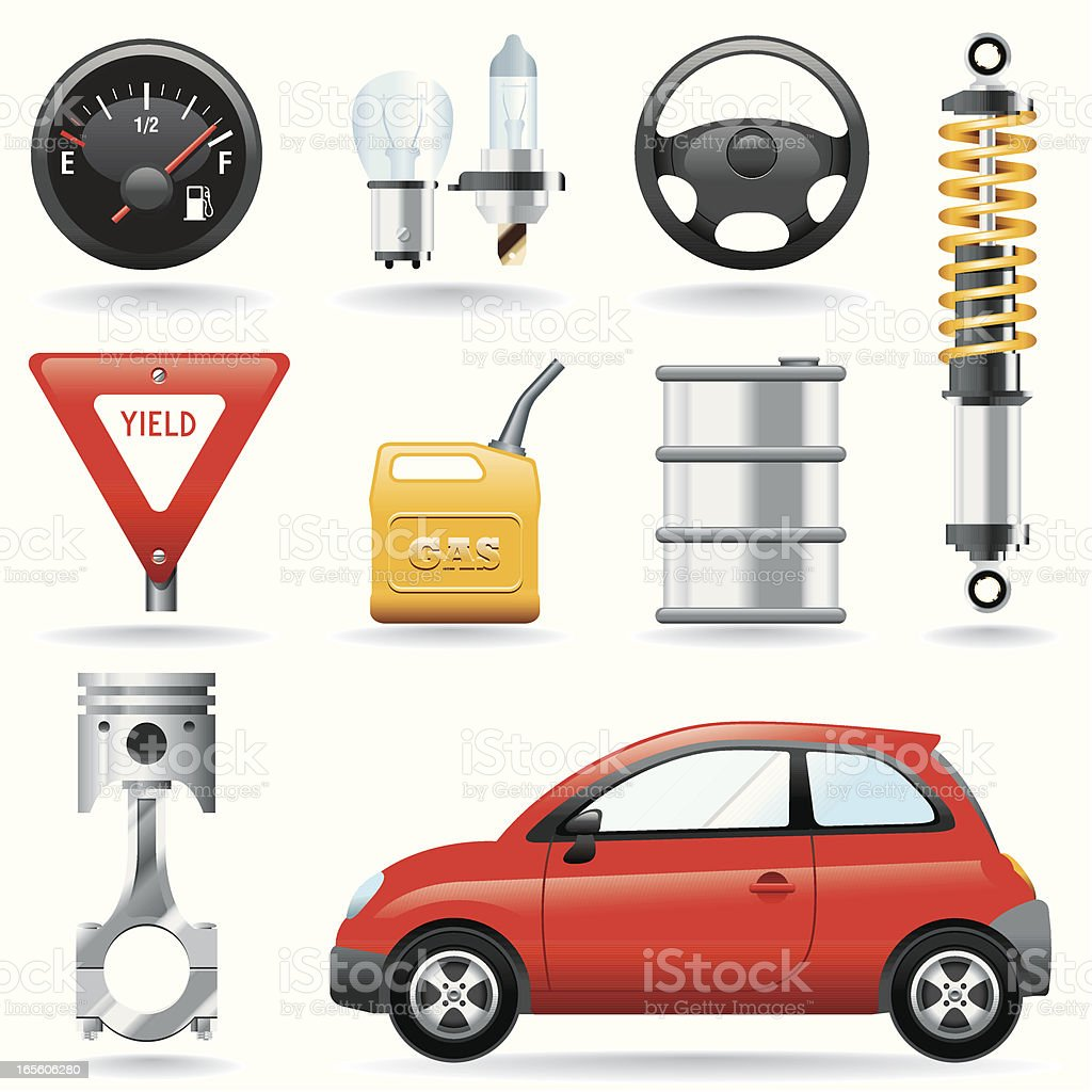 Icon Set, Motor vector art illustration