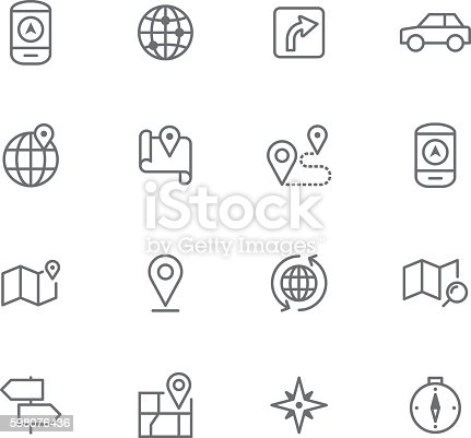 Icon Set, Navigation items on white background, made in adobe Illustrator (vector)