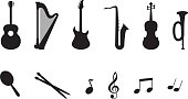 Icon set of a musical instruments