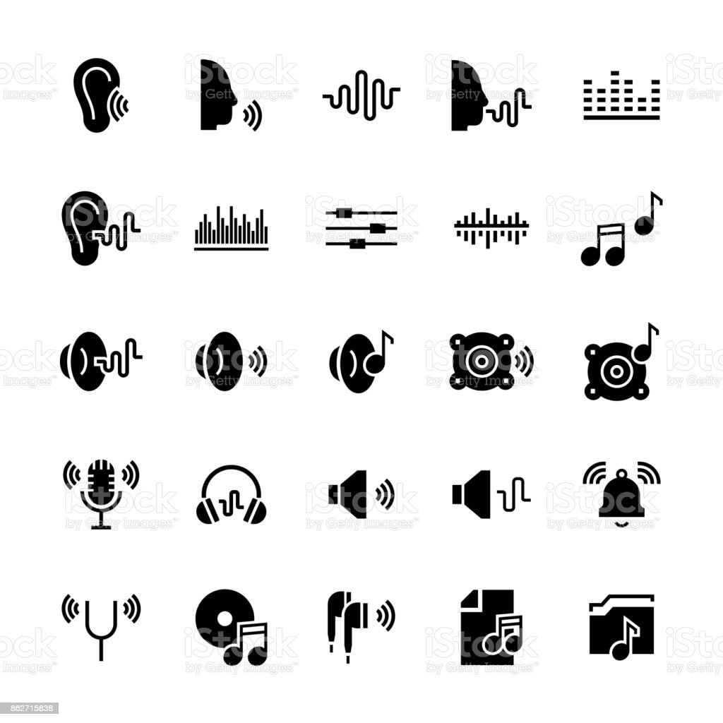 Icon set of acoustics and sound in flat style. Vector symbols. vector art illustration