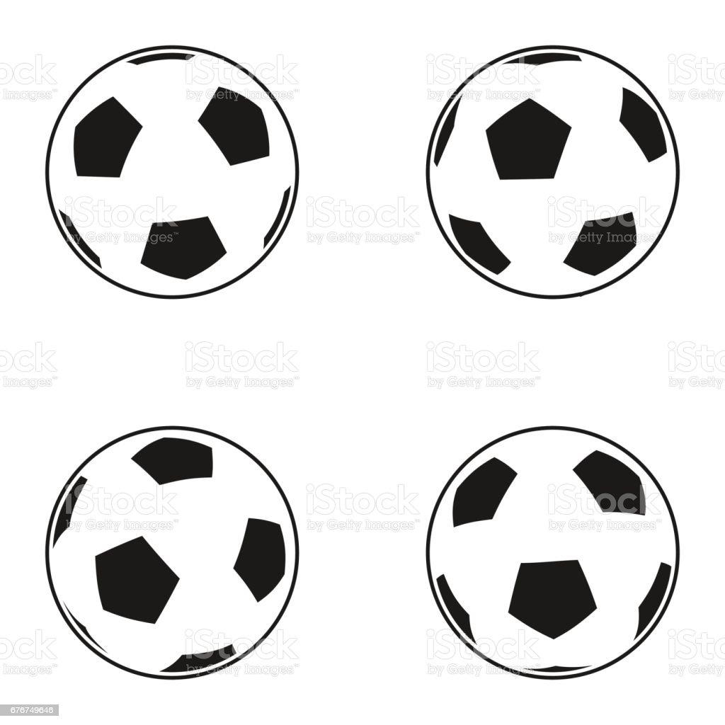 Ilustración De Conjunto De Iconos De Pelota De Fútbol Europeo