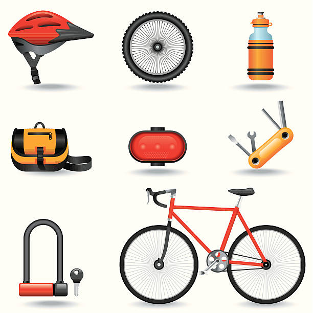 Icon set of bike-related items vector art illustration
