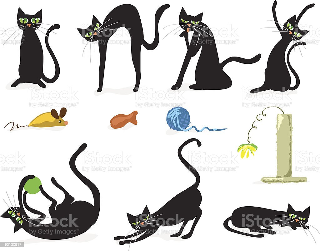 Icon set of black cats and colorful cat toys
