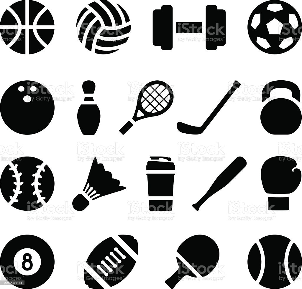 sports equipment simple silhouette icon sport vector badminton ball baseball racket bat vectors barbell illustration