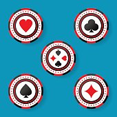 Icon set of casino chips symbols with cards suits