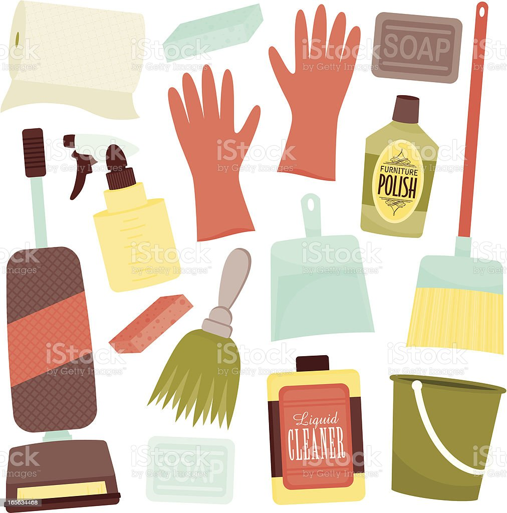Icon set of cleaning items icons in soft colors royalty-free icon set of cleaning items icons in soft colors stock vector art & more images of bar of soap