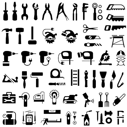 Icon Set of Construction, Renovation and DIY Tools.
