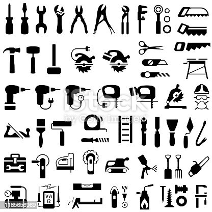 Single color isolated work tools icons set.