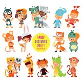 Icon set of cute boys and girls in animals costumes.