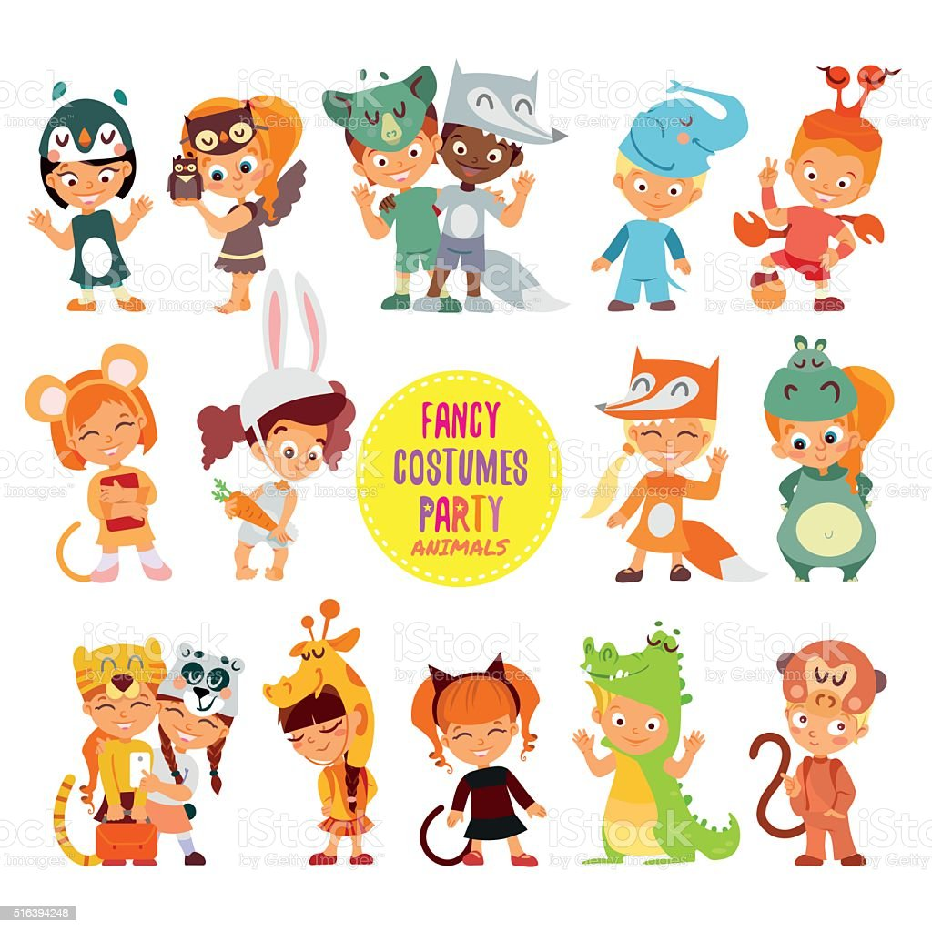 Icon set of cute boys and girls in animals costumes. vector art illustration