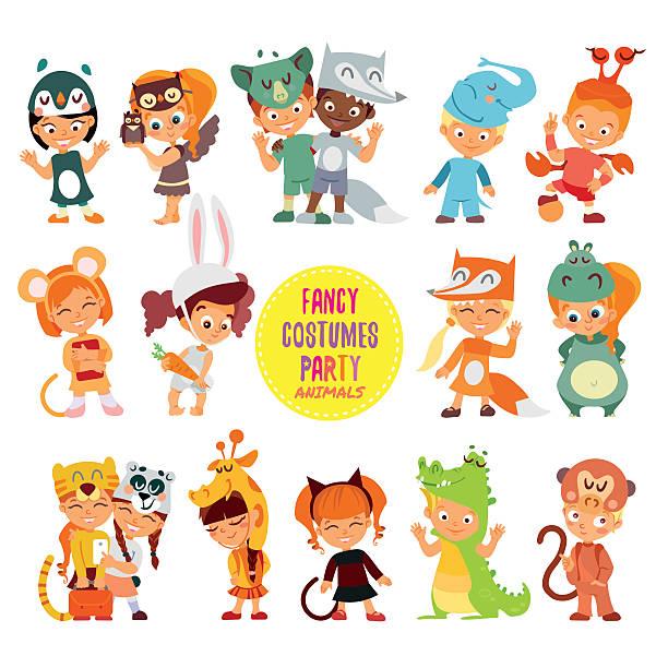 symbol ein satz von niedlich mädchen und jungen in tier kostümen. - giraffenkostüm stock-grafiken, -clipart, -cartoons und -symbole