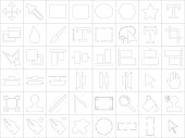 Large and detailed icon set of design tools
