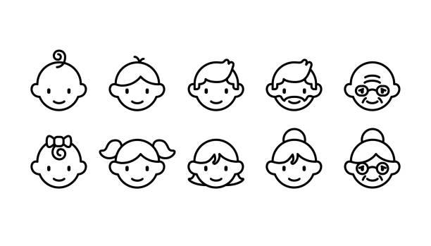 赤ちゃんから年長者まで異なる年齢層のアイコンセット(かわいいシンプルなアートスタイル) - 親子点のイラスト素材/クリップアート素材/マンガ素材/アイコン素材