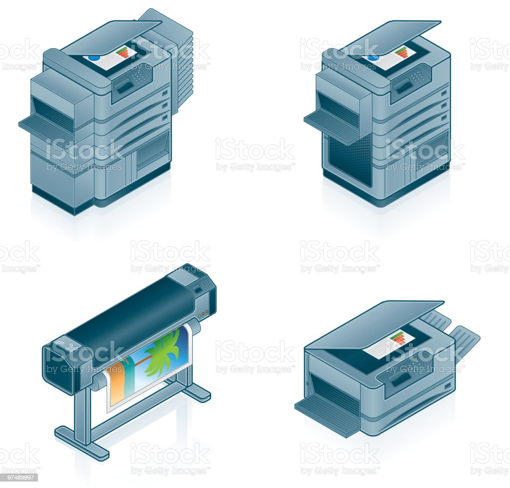 Icon set of different computer printers royalty-free icon set of different computer printers stock vector art & more images of color image