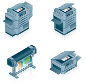 Icon set of different computer printers